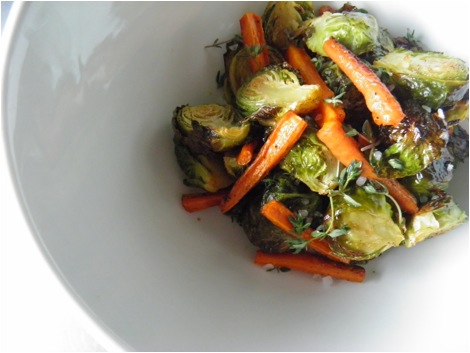 Roasted Brussels sprouts with carrots recipe, a quick healthy dinner idea from Massel